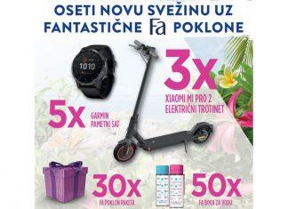 Fa konkurs nagrade: trotinet, Garmin sat, Fa poklon paketa i Fa boca za vodu